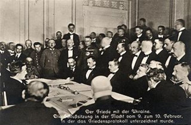 The Treaty of Brest-Litovsk was signed between Russia and Germany.