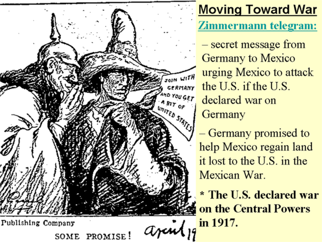 A message about a Mexican and German alliance was forward to President Wilson