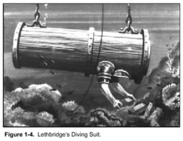 "Englishman John Lethbridge builds a ""Diving Engine."""