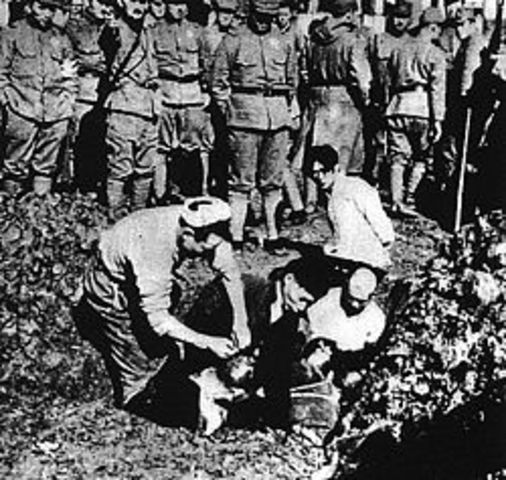 1937 Japan's army pillages Nanjing, China; massacre a quarter of a million people.