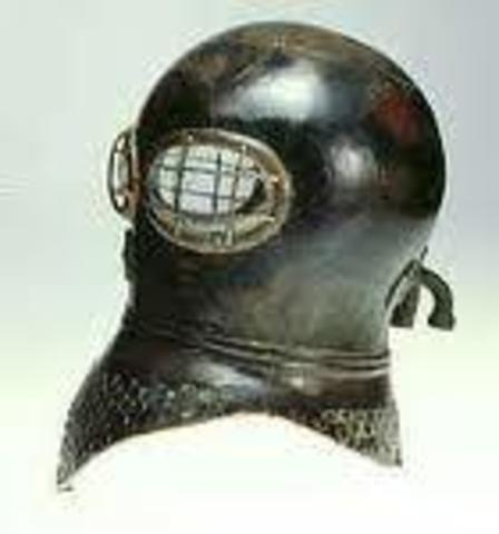 """English inventor, Charles Anthony Deane, patents a """"Smoke Helmet"""" for Fighting Fires."""