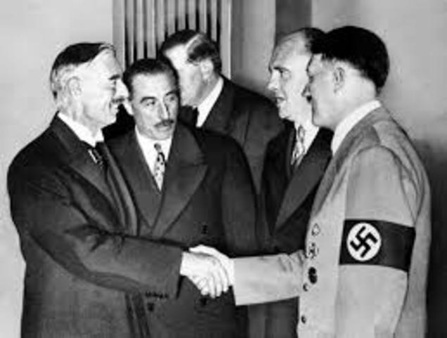 Munich Pact signed giving Sudentenland of Czech. to Germany
