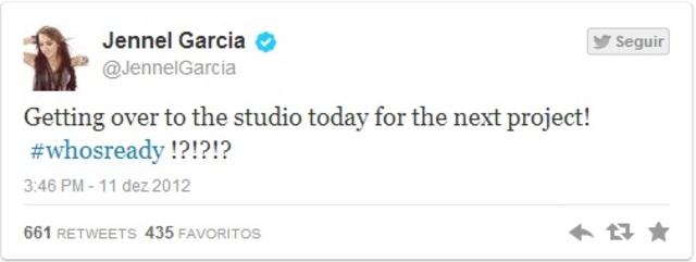 """""""Ficar mais no estúdio hoje para o próximo projeto! #quemestápronto???"""""""