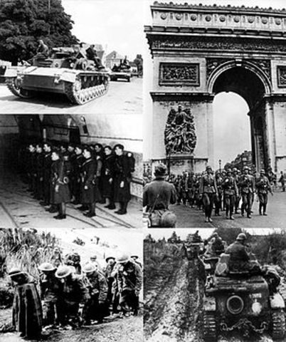 1940 Germany invades France and forces it to surrender