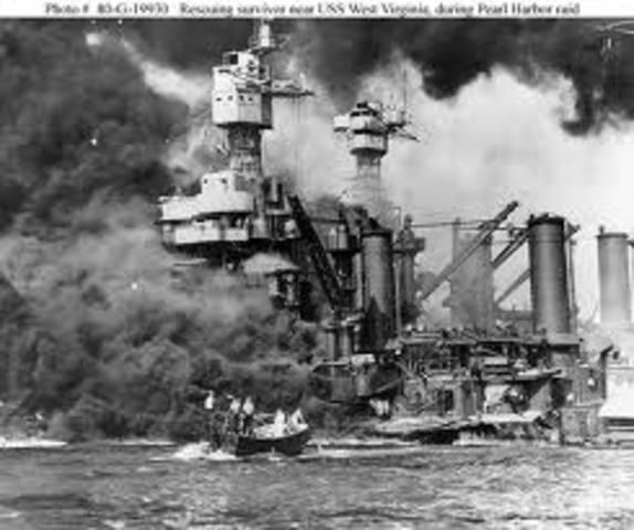 1941, Dec. 7 Pearl Harbor in Hawaii attacked by Japanese Naval and Air forces, US declares war on Japan, Germany and Italy declare war on the US -  Dec. 9