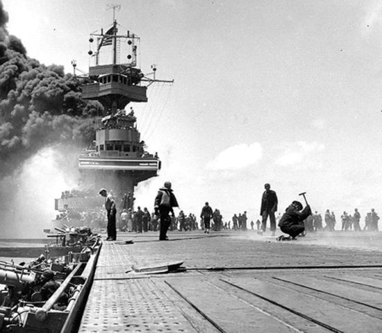 1942, June 4-7 Battle of Midway, turning point of war in the Pacific