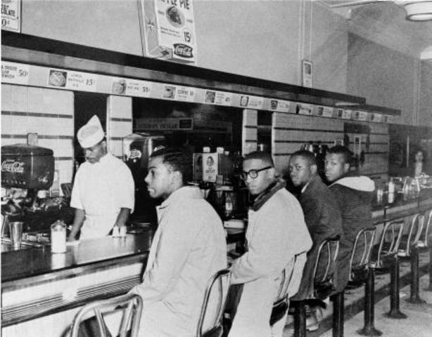 1960 Black students occupy white only lunch sit ins to protest segregation