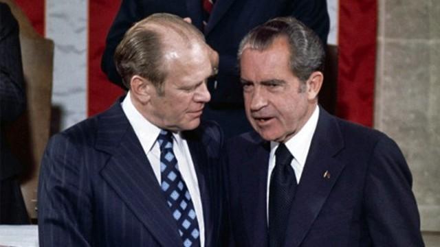 Nixon resigns, Ford assumes presidency