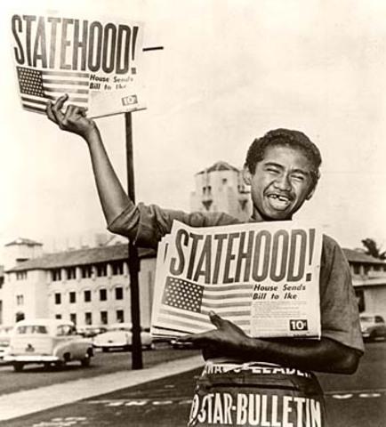 Hawaii and Alaska gain statehood