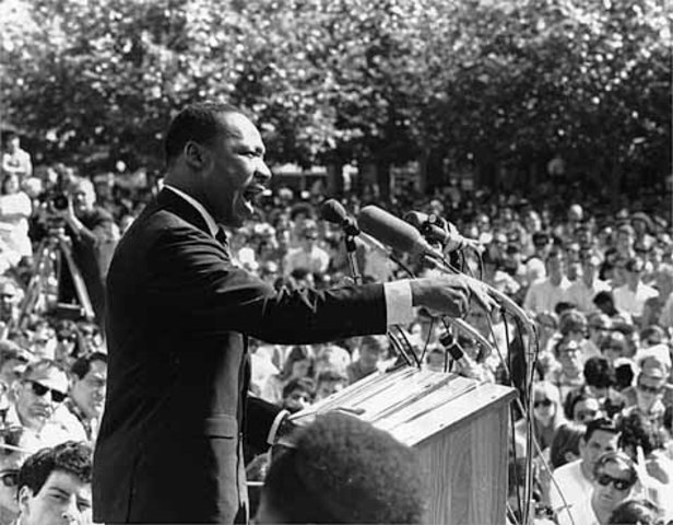 """Martin Luther King Jr. Gives famous 'I Have A Dream"""" speech."""