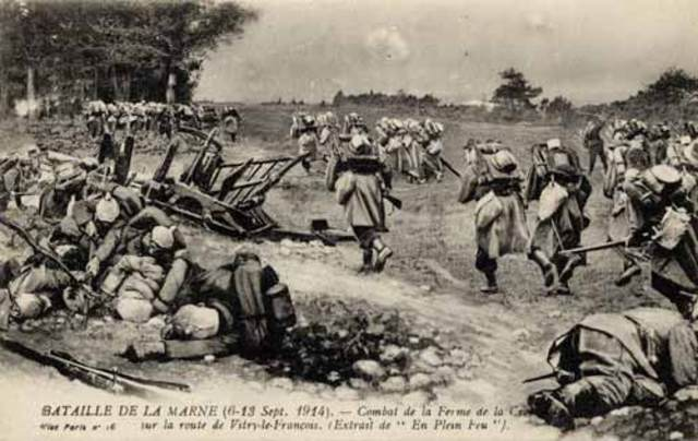 Battle of the Marne - German army stopped outside of Paris; 4 years of trench warfare ensues