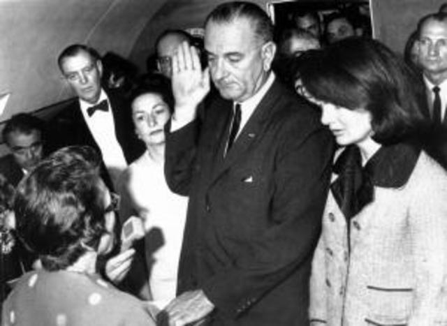 Lyndon B. Johnson was sworn into presidency.