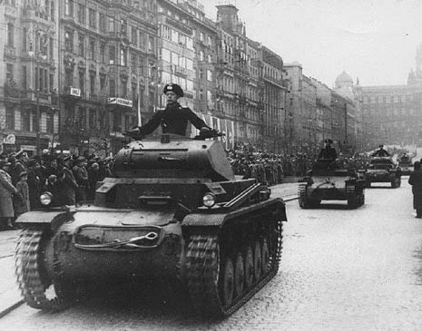 hitler invades and occupies Czechoslovakia