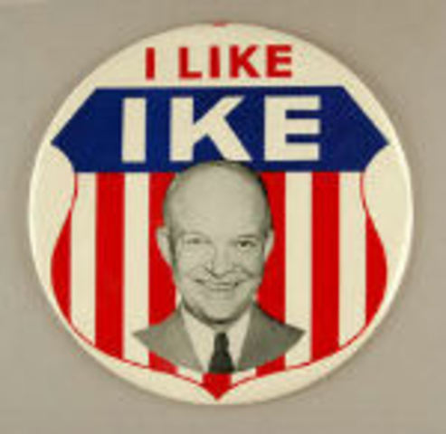 President Dwight D. Eisenhower is inagurated (1953-1961.) Kennedy, David., et al. The American Pageant. Thirteenth edition. Boston: Houghton Mifflin Company, 2006