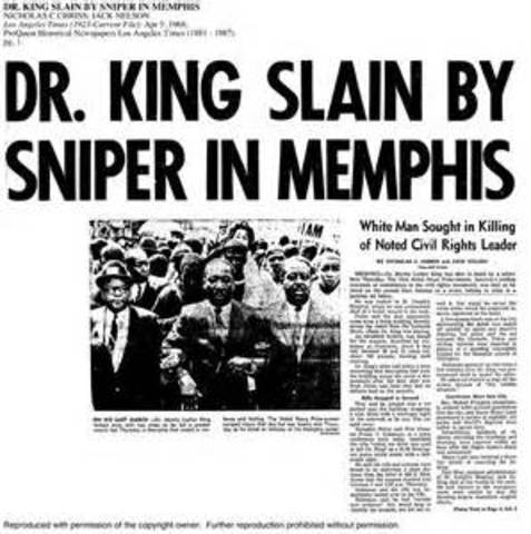 Dr Martin Luther King Jr is assassinated