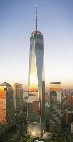 Groundbreaking for the Freedom Tower begins at Ground Zero in New York City.