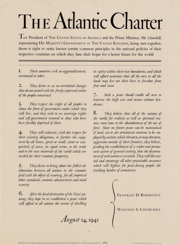 1941 Churchill and FDR issue the Atlantic Charter