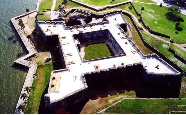 The Castillo de San Marcos is built in St. Augustine, Florida.