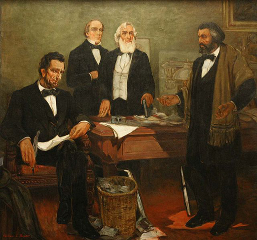 Douglass meets with President Lincoln.