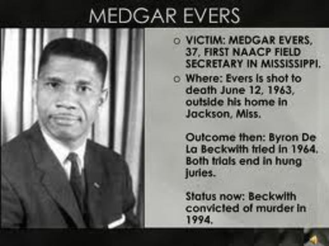Medgar Evers, NAACP field secy, murdered in Mississippi