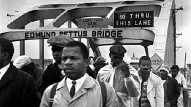 Selma Marchers attacked on the Edmund Pettis Bridge