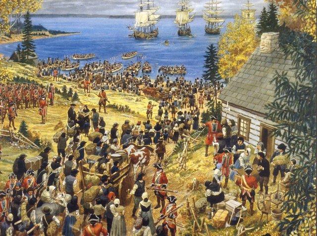 Déportation des Acadiens- épisode de l'Histoire appelé « Le grand dérangement » commencer