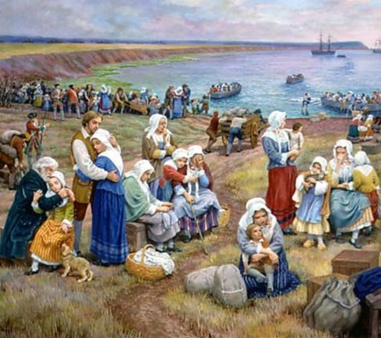 Déportation des Acadiens- épisode de l'Histoire appelé « Le grand dérangement » arrête