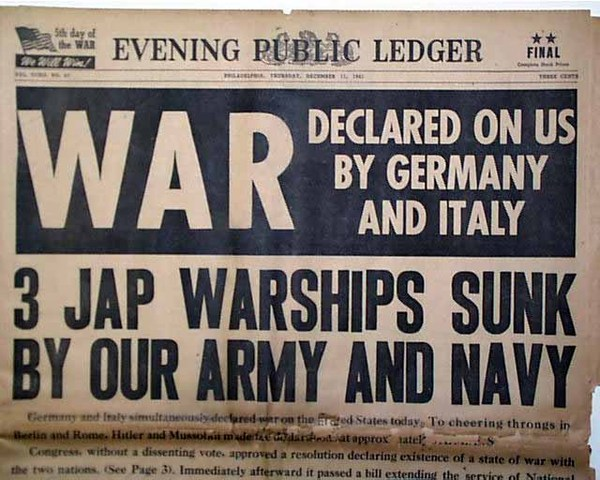 Germany and Italy declare war against the United States