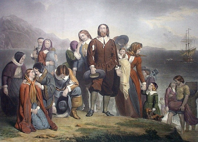 Pilgrims being to emigrate to colonies