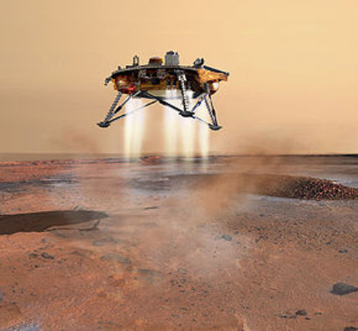 The Phoenix spacecraft launches toward the Martian north pole.