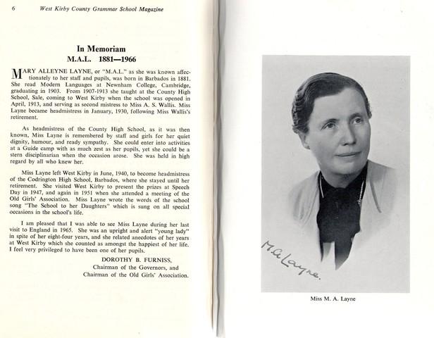 Miss A Layne Head (1930-1940)