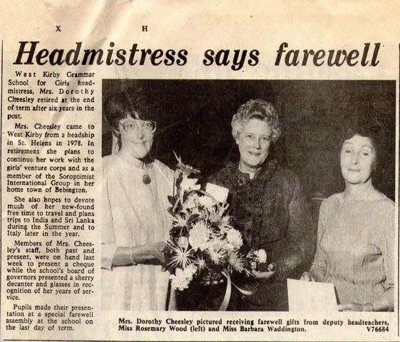 Mrs Cheesley Head teacher 1978-84