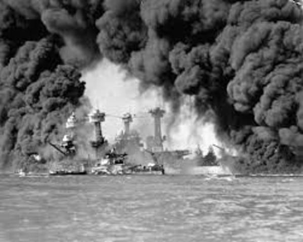 1941, Dec. 7 Pearl Harbor in Hawaii attacked by Japanese Naval and Air forces, US declares war on Japan