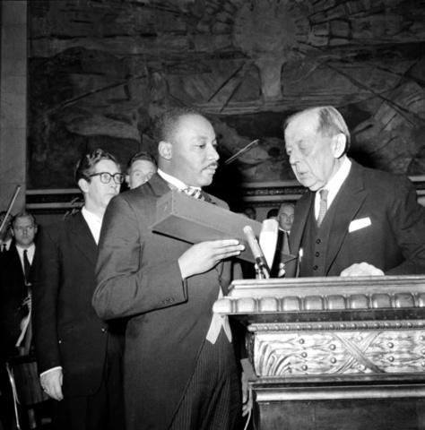 Martin Luther King, Jr. receives Nobel Peace Prize.