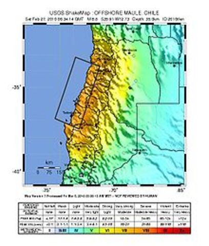 An 8.8-magnitude earthquake occurs in Chile, triggering a tsunami over the Pacific and killing at least 525