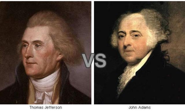 Election of 1796: John Adams (Fed) V. Thomas Jefferson (D-R)