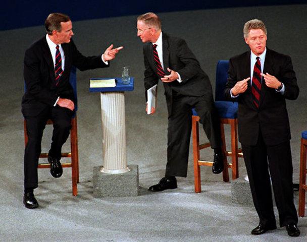 Election of 1992: Bill Clinton (D) V. George Bush (R) V. Ross Perot