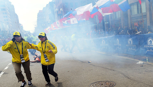Two bombs explode at the Boston Marathon, in Boston, Massachusetts  in the United States, killing 3 and injuring 282 others.