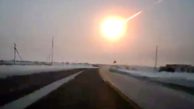 A meteor explodes over the Russian city of Chelyabinsk