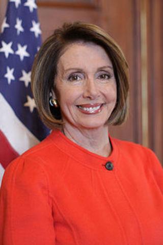 The first female speaker of the U.S. House of Representatives, Representative Nancy Pelosi sworn into office.