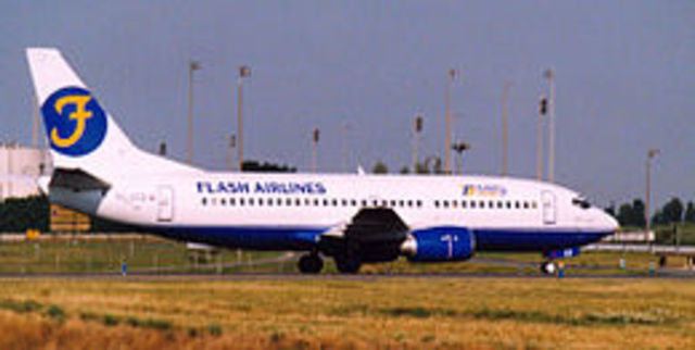 Flash Airlines Flight 604 crashes into the Red Sea