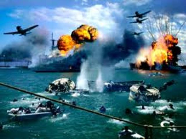 Japanese bomb Pearl Harbor, Hawaii; also attack the Philippines, Wake Island, Guam, Malaya, Thailand, Shanghai and Midway.