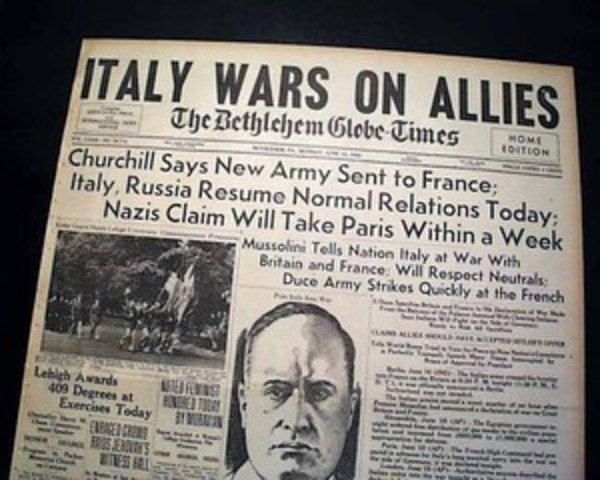 Italy enters the war. Italy invades southern France on June 21.