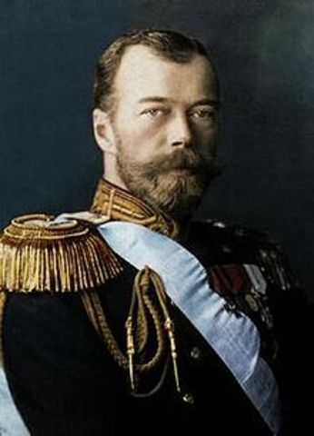"""Tsar Nicholas II leaves to """"command"""" the front, leaving his wife to overlook internal matters"""