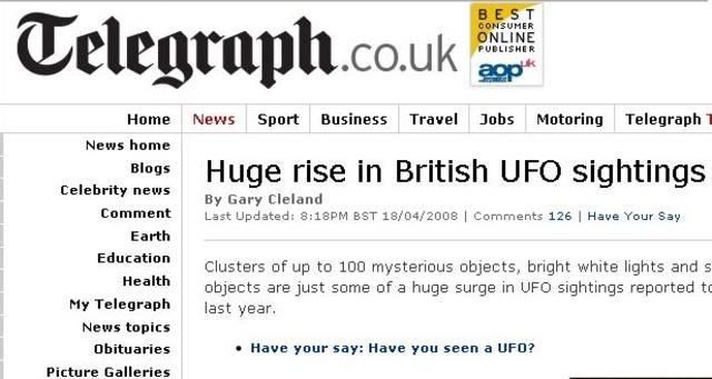 UFO Sightings in the UK Increase