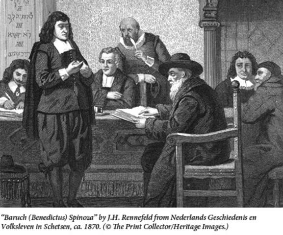 Baruch Spinoza exiled, undermines rabbinic authority