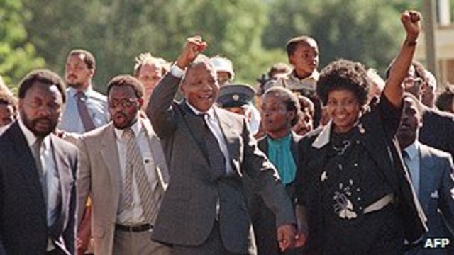 Mandela released from prison, Namibia becomes independent