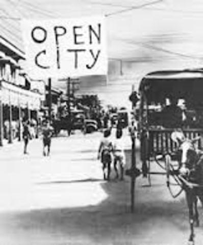 Manila declared an open city.