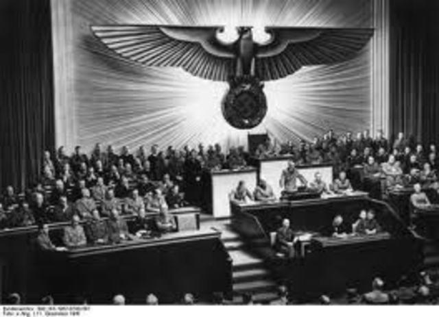 Adolf Hitler declares war