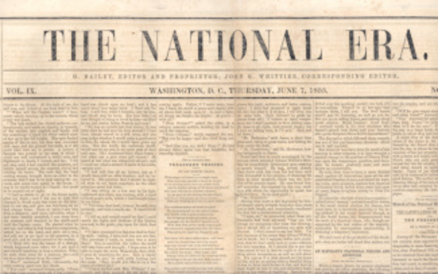 Uncle Tom's Cabin appears as a serial on The National Era